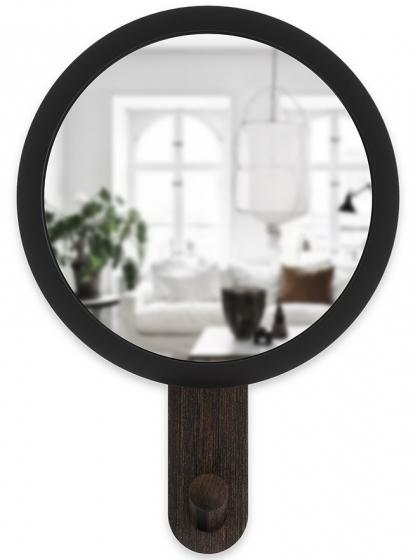 Зеркало-вешалка Hub 15X22X6 CM чёрное/орех 6