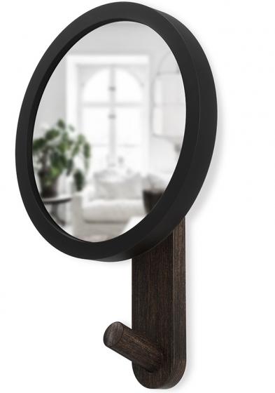 Зеркало-вешалка Hub 15X22X6 CM чёрное/орех 7