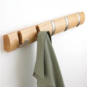 Вешалка настенная горизонтальная flip 5 крючков натуральное дерево