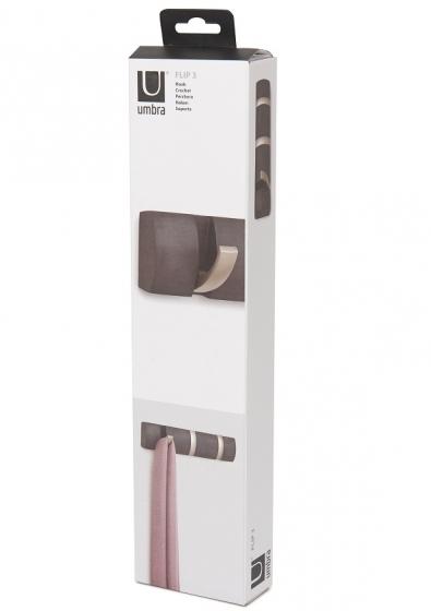 Вешалка настенная горизонтальная flip 3 крючка дерево/никель 8