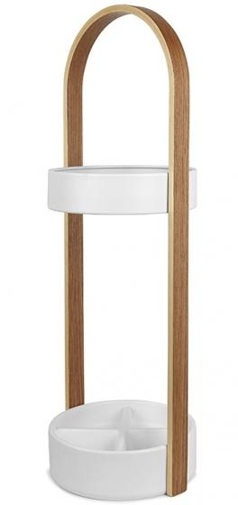Подставка для зонтов hub 22X25X68 CM цвет белый/натуральное дерево 2