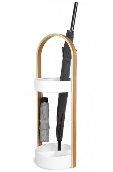 Подставка для зонтов hub 22X25X68 CM цвет белый/натуральное дерево 1