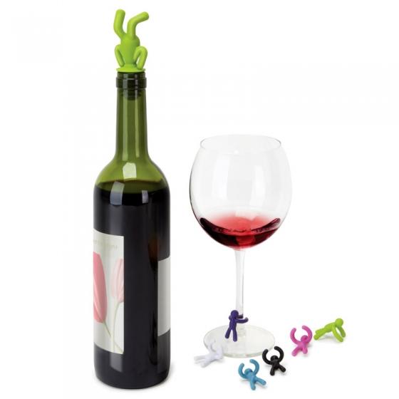 Пробка для бутылки и маркеры для бокалов drinking buddy 2