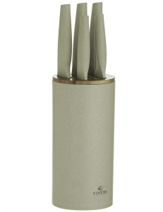 Набор из 5 ножей в подставке Organic бежевый
