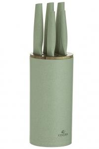 Набор из 5 ножей в подставке Organic зеленый