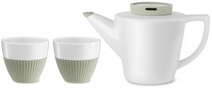 Фарфоровый заварочный чайник с чашками Infusion зелёный