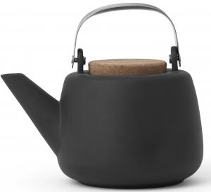 Фарфоровый чайник с крышкой из пробки Nicola 1200 ml графитового цвета