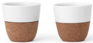 Чайные стаканы 2 шт из фарфора и пробки Lauren 150 ml