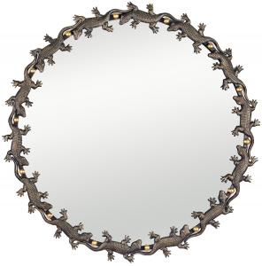 Круглое зеркало в стальной раме Lizard Ø85 CM