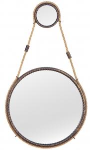 Зеркало на ремне в стальной раме Loft Gold Ø49 CM