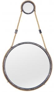 Зеркало на ремне в стальной раме Loft Silver Ø49 CM
