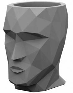 Кашпо в форме головы Adan 30X41X42 CM тёмно серое