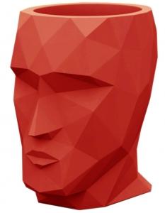 Кашпо в форме головы Adan Nano 13X17X18 CM красное